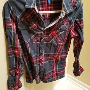 H&M Plaid Casual Button Down Red Gray XS